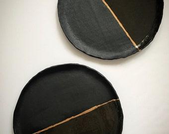 Texture Matte and Gloss 22kt Gold circle tray