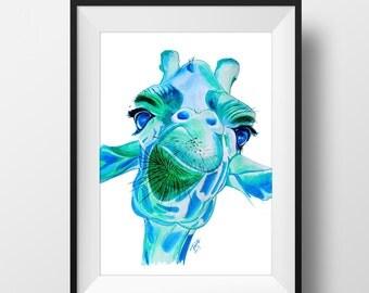 Giraffe Original Art. Illustration. Giraffe Print. Wall Art. Giraffe Art. Marker Art.