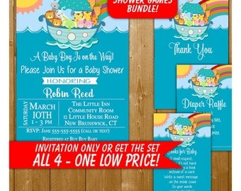 Christian Baby Shower Invitation, Noahs Ark Baby Shower Invitation, Boy Shower in Blue, Noahs Ark Baby Shower, Baby Shower Printables