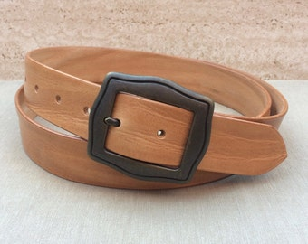 Belt from full cowhide leather, cognac, leather belt, custom made