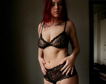 Black Lace Lingerie Set / Black lace soft underwear set / Black Triangle bralette and lace shorts set / Gothic Plus size lingerie set