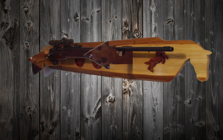 Walker Wood Western Wooden Gun Rack Wall Mount by