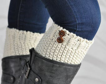 Ivory Knit Buttoned Boot Cuffs
