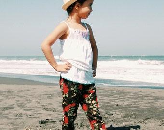 Floral pants, beach pants, floral leggings, floral print leggings, baby leggings, baby pants, girls pants, girl leggings, vintage floral