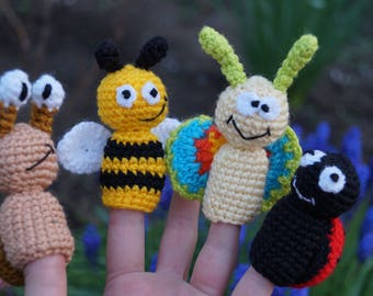 Baby shower Toddler gift for kids birthday Baby Toddler toys Waldorf Educational summer finger puppets snail crochet butterfly bee ladybug