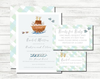 Printable Digital Watercolor Noah's Ark Baby Shower Invitation Suite for Twins Hand-Painted Two by Two
