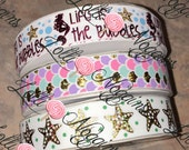 "Life Is The Bubbles   Mermaid print   USDR 7/8"" ribbon   Coordinated grosgrain set for bows and crafts"