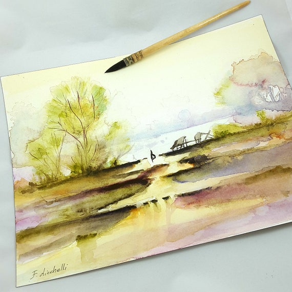 Traditional painting with trees and lake, watercolor landscape, copy of author, gift idea for men, studio office lounge decoration, wall art