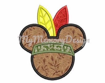 Boy Applique Design -  Mouse head indian boy embroidery design - Machine embroidery - INSTANT DOWNLOAD