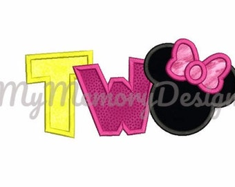 Birthday embroidery - 2nd birthday - Second birthday applique - Mouse embroidery - Machine embroidery pattern - Instant download - 3 size