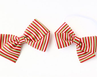Hair Bows for Christmas - Red and Green Striped - Elf Stripes Bow