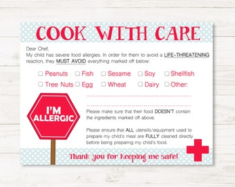 Multiple Allergies Chef/Restaurant Cards for Child- Medical Alert Dining Card- Printable Food Allergy Card