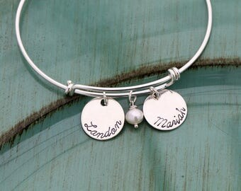 Sterling Silver Bangle Personalized Mom Bangle Custom Bracelet Bangle • Custom Bracelet Mommy Gift Mom Bracelet Mother Adjustable Expandable