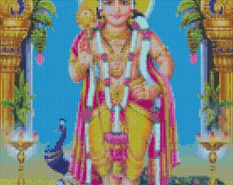Murugan Hindu God Cross Stitch pattern - PDF - Instant Download!