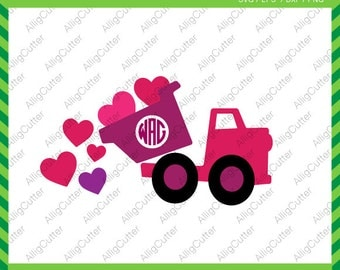 Valentine Dump Truck Hearts SVG DXF PNG eps Cut File for Cricut Design, Silhouette studio, Sure Cuts A Lot, Makes the Cut and more