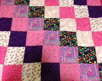 Pink and Purple girls baby quilt