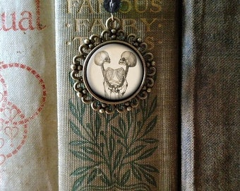 Siamese Twins brass book hook  or twin skeleton bookmark with dangling glass cabochon accent