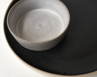 salt and pepper, ceramic salt cellar, kitchen decor, saucer, minimalist, salt keeper