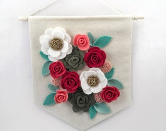 "Felt Floral Banner | ""Winter Mint"" 