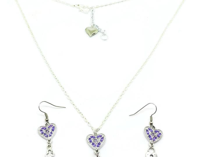 Purple Crystal Heart Necklace and Earring Set, Purple Heart Necklace, Unique Birthday Gift, Love Necklace, Heart Earrings
