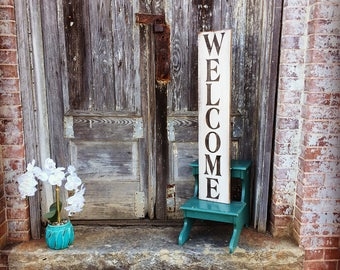Welcome, Welcome Sign, Rustic Wood Sign, Vertical Welcome Sign, Welcome Home Decor, Wood Wall Decor, Entryway Wall Art, Farmhouse Style