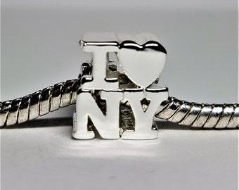 Silver I Heart New York Charm for European Bracelets (item 184)