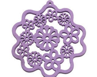 Pendant, Charm, Wood flower, purple ,  55mm
