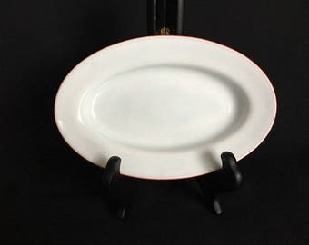 Harmonia platter small oval white red edge Spain vintage retro MCM simple art deco