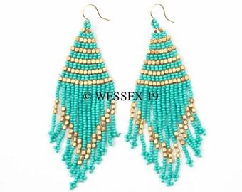Turquoise Tassel Earrings | Seed Bead Tassel Earrings | Blue Beaded Tassel Earrings | Aqua Fringe Earrings | Boho Statement Drop Earrings