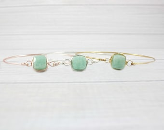 Aquamarine Bracelet, Gemstone Bracelet, Stone Bracelet, Gold Bracelet, Stacking Bracelet, Stacking Bangle, Gold Bangle,March Birthstone,Thin