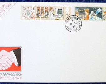 Information Technology First Day Cover, UK, 1982, Royal Mail FDC, IT, Intelpost, Prestel, Space Age, 1980s tech, Brian Delf, postage stamps