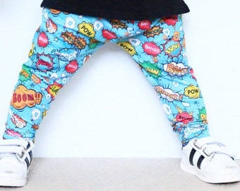 Handmade Baby Leggings - Comic Book Print - POW - BANG - Baby Comic Book Pants - Comic Book Leggings - Comic Book Pants - Toddler Boy Pants