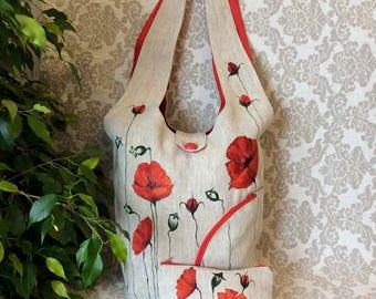 Linen hobo bag/hand painted bag/womens linen bag/mom purse/red flower/red poppies/shoulder purse/ linen purse/large purse/handbags/hobo bag