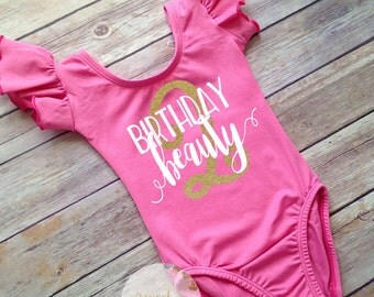 Second Birthday leotard, Birthday shirts for girls, Birthday Beauty, Boutique clothing, Toddler gymnastics leotard, Pink ballet leotard