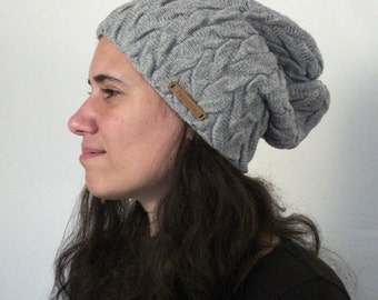 Slouchy Hat knitted, slouchy beanie knit hat with cables, cable knit cap, light grey knit beanie, cashmere merino, gift for her
