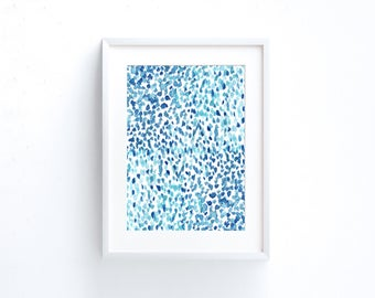 Blue watercolor abstract painting large art print download 11x14 print, 16x20, 18x24 print, 24x36 print blue art print digital download