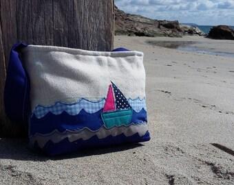 Handbag, shoulder bag, bag, fabric bag, applique, applique handbag, gift for her, made in Cornwall