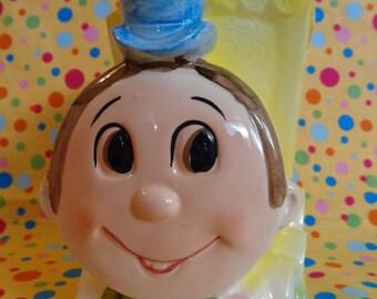 Vintage Lefton Planter ~ Yellow Train ~ Big Eye Planter ~ 1960s ~ Nursery ~ Baby Shower Gift ~ Baby Boy