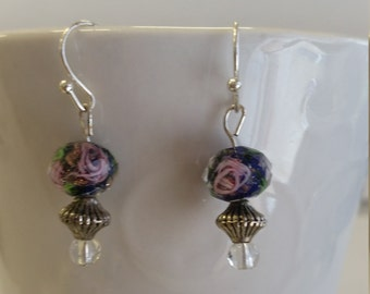 Purple with pink rose dangle