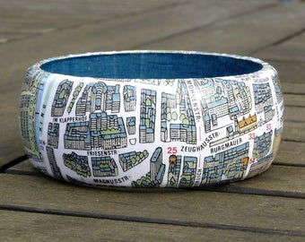 Bangles Cologne old town city map, incl. gift box