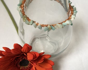 Amazonite All Around Wire Wrapped Bangle, Gift for her, Gemstone Bangle