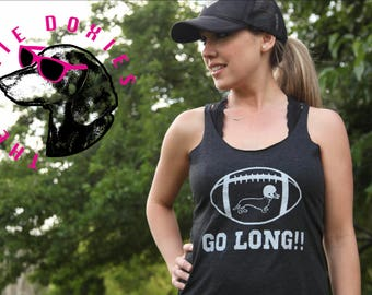 GO LONG!! Vintage Black Tank Top, Dachshund, Doxies, Weiner Dog, Football, Racerback, Doxie, Dachshund Shirt,Sausage Dog,Wiener, Doxie Lover