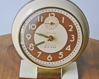 Non-Working Westclox Big Ben Alarm Clock, Vintage Chime Alarm Clock, Made in USA