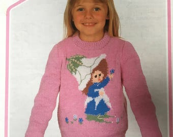 Victoria Plum Knitting Pattern, Wendy Knitting Pattern, Childrens Victoria Plum Jumper, Girls Character Sweater, Girls Jumper, No 2545, 1979