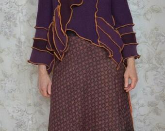 Upcycled patchwork sweater jacket, Purple wool jacket, Boho style