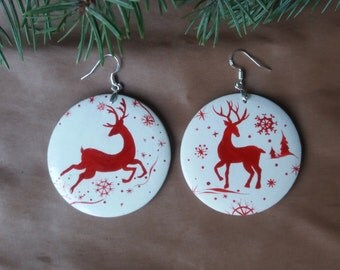 Christmas gift Christmas earrings.Deer. New Year. Holiday gift.Christmas jewelry. Wood earrings.