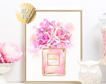 Chanel Art Print - Coco Chanel Perfume Gold Foil Print - Floral Chanel Bottle Fashion Print - Coco Chanel Perfume Watercolor Illustration