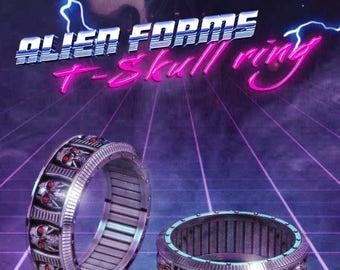 Terminator Skull ring, Geek wedding ring,  mens skull ring, Terminator ring, cyberpunk skull ring, geek mens ring, geek engagement ring