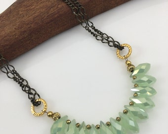 """Light Green Crystal Briolette 18"""" Necklace/Antique Brass Chain/Gold Hematite/Short Statement Necklace/Boho Jewelry/Gift for Her"""