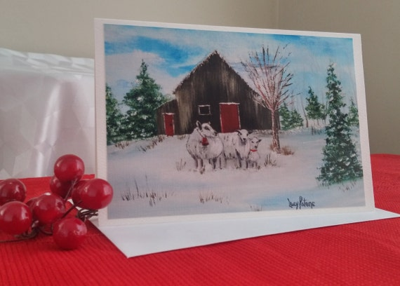 Map of Christmas/greeting Christmas card for holidays/landscape winter/winter/family of sheep / Christmas card/country Christmas - CC-LP-0058
